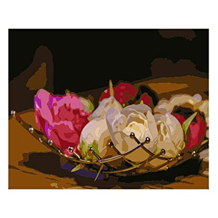 Amazon Com Carise Rose Flower Diy Digital Oil Painting Paint By