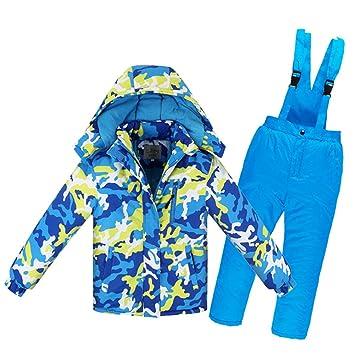 LPATTERN Chaqueta de Esquí para Niños Niñas Conjunto 2 Piezas Abrigo con Capucha + Pantalones con Tirante Traje de Nieve: Amazon.es: Deportes y aire libre