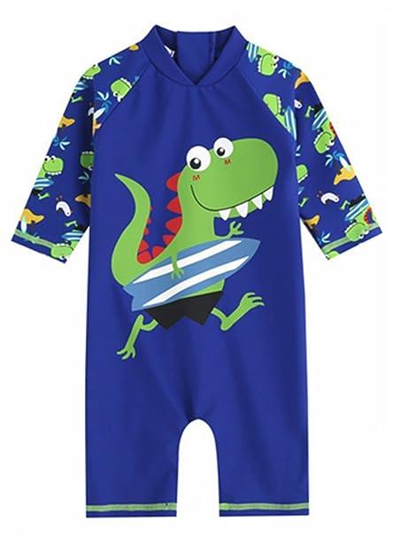 b3499423a4 Amazon.com: Kids Baby Boys Girls Shark Rash Guard Swimsuit Sun Protection  One-Piece Swimwear: Clothing