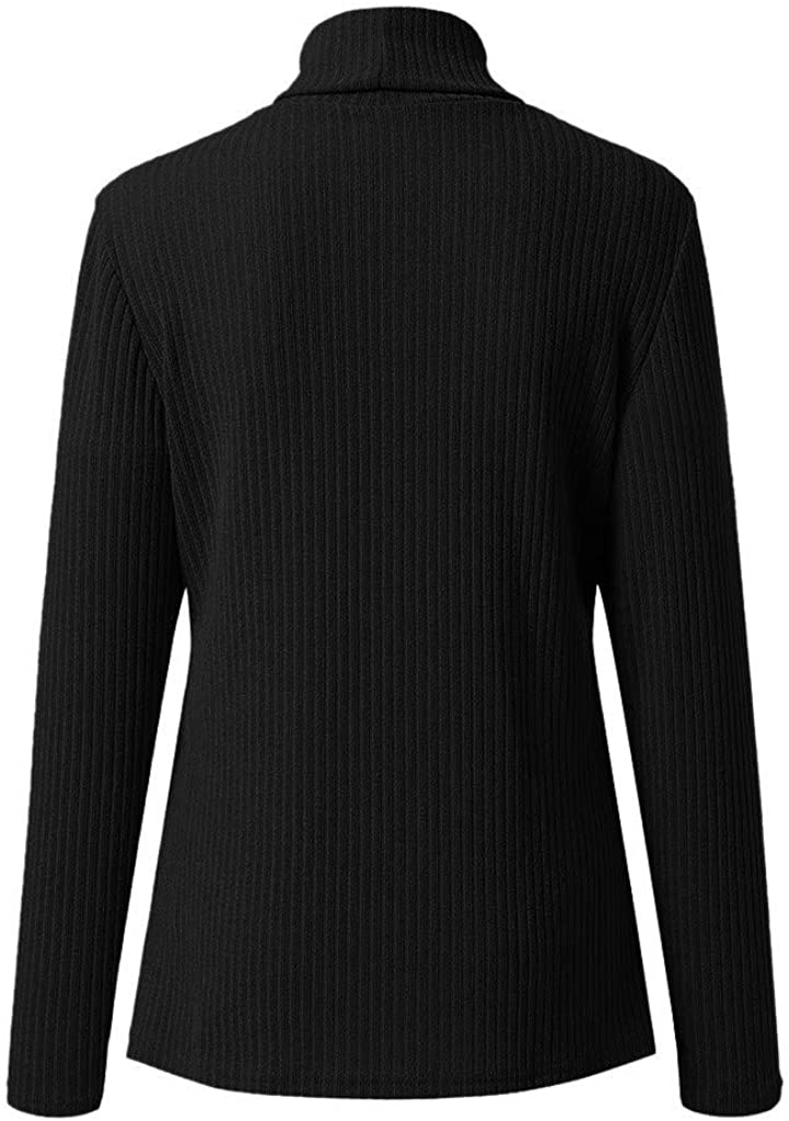 Womens Casual Long Sleeve Turtleneck Sweaters Loose Blouses Tops T Shirt Pullover