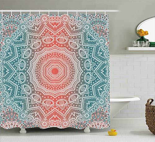 Ambesonne Coral and Teal Shower Curtain, Modern Tribal Mandala Tibetan Healing Motif with Floral Geometric Ombre Art, Fabric Bathroom Decor Set with Hooks, 70 Inches, Coral Teal
