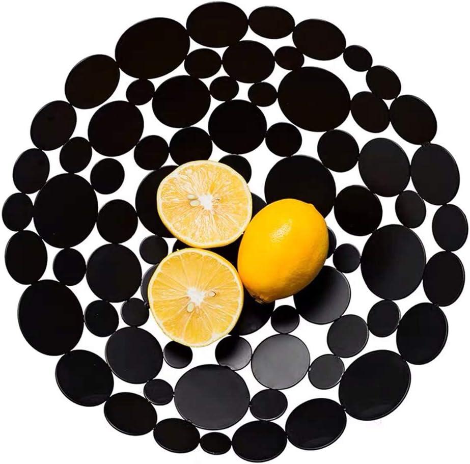 Creative Table Centerpiece Stand | Luxury Metal Fruit Basket Bowl for Kitchen Counter | Black Round Home Decor (Decorative Bowl - Black)