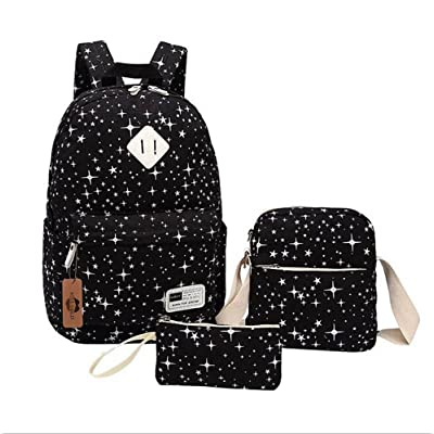 cheap KISS GOLD(TM) Unisex Canvas Backpack Set 3 Pieces Stars Patterned Laptop Bag Schoolbag Travel Backpack