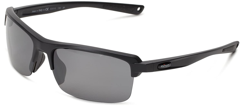 Revo Unisex Unisex RE 4066 Crux N Rectangular Polarized UV Protection Sunglasses Revo Unisex RE 4066 Crux N Rectangular Polarized UV Protection Sunglasses Polished Black Frame Blue Water Lens Revo Sunglasses