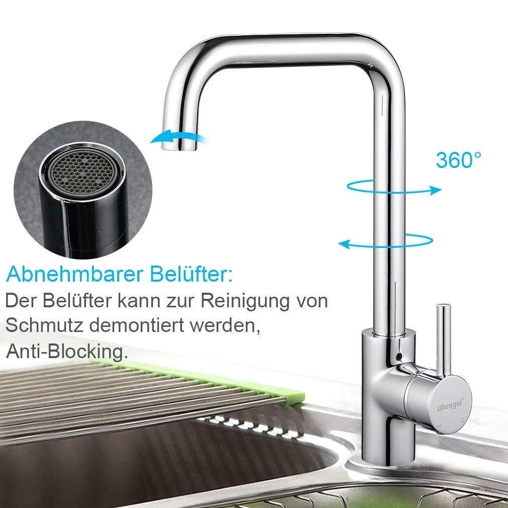 ubeegol 360/° Drehbar Badarmatur Waschtischarmatur Hoch Wasserhahn Bad Waschbecken Mischbatterie Einhebelmischer Waschtisch G/äste WC Armatur Badezimmer ohne Zugstange-Ablaufgarnitur