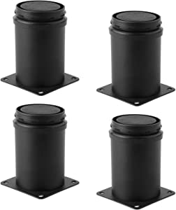 3 Inch Adjustable Metal Desk Table Furniture Legs, Replacement Leg Legs for Coffee Table, Desk, etc, Set of 4 (Black)