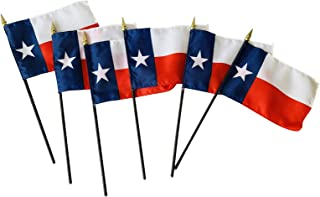 product image for Set of 6 4x6 E-Gloss Texas Stick Flag - Flag Only - Proudly Made in The USA