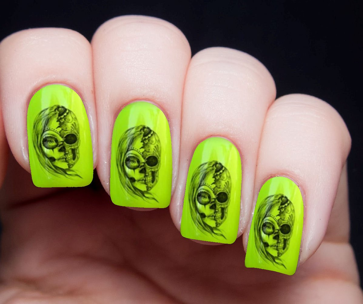 Amazon.com: Day of the Dead Zombie Queen Nail Art Transfer Decal Wrap for  False Acrylic Gel or Natural Nails s12: Health & Personal Care - Amazon.com: Day Of The Dead Zombie Queen Nail Art Transfer Decal