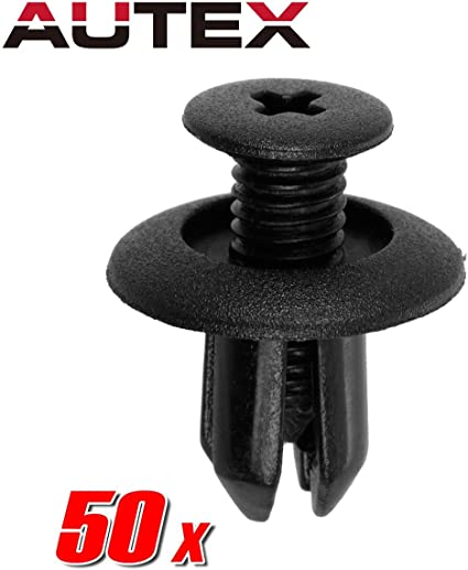50pcs 8mm Nylon Push Type Rivet Retainer Fastener Bumper Pin Clips for Ford
