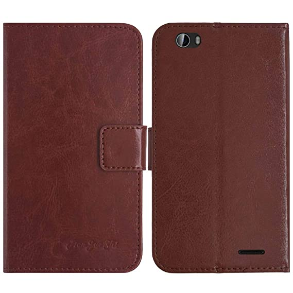 857e4c3f4a993 Amazon.com  TienJueShi Brown Book-Style Flip Leather Protector Case ...