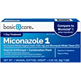 Basic Care Miconazole Nitrate Vaginal Insert (1200 mg) and Miconazole Nitrate Cream (2%) Combination Pack, 1-Day Treatment For Vaginal Yeast Infection