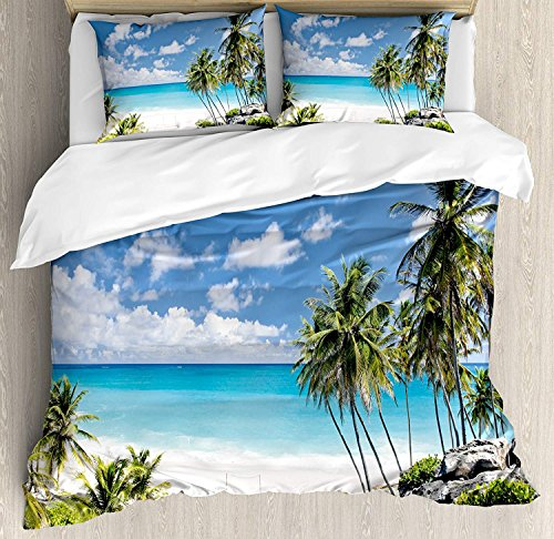 Summer 4 Piece Bedding Set Duvet Cover Set Full Size, Bottom Bay Barbados Beach Tropical Palms Ocean Holiday Paradise Coast Charm Picture, Luxury Bed Sheet for Childrens/Kids/Teens/Adults, Multicolor