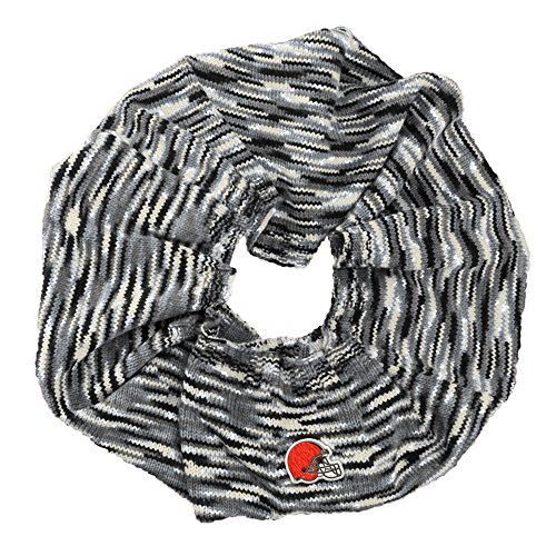 Touch by Alyssa Milano NFL Cleveland Browns Infinity Space Dye Cozy Scarf, One Size, Light Gray/Black/White