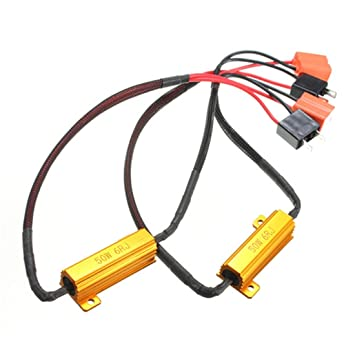 FEZZ LED Coche Bombilla Resistencia H7 50W 8 Ohm Canbus Decodificador Adaptador Cableado Advertencia Cancelador Errores