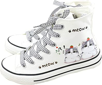 Frelo Girls Cat Shoes Canvas Shoes High