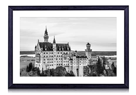European architecture art print black wood framed wall art picture 20x14 inches framed black white