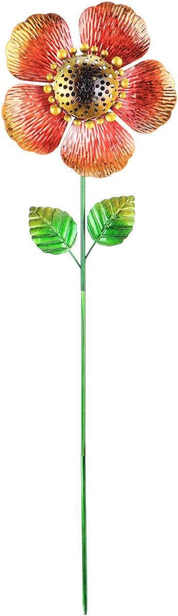 MUMTOP Solar Wind Spinner 33 Inch Little Red Flower Wind Sculptures for Garden Patio Courtyard Decoration