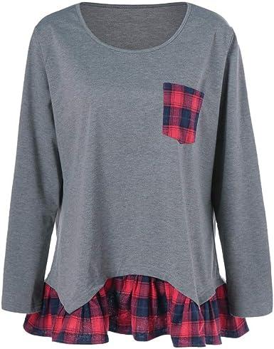 Sylar Camisetas Mujer Tallas Grandes Otoño Retro Cuello Redondo Cuadros Cosiendo Ruffle Simple Camisa Suelto Blousa Tops