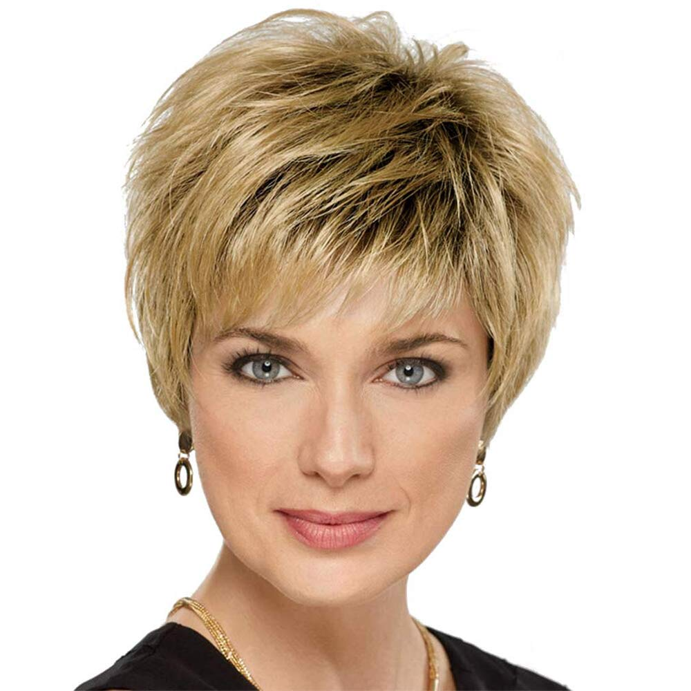 Amazon Com Blonde Unicorn Ombre Short Hair Wig For Women Dark Root To Blonde Hair Wigs Beauty