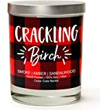 Crackling Birch   Smoke, Amber, Sandalwood   Buffalo Plaid Luxury Scented Soy Candle   10 Oz. Glass Jar Scented Candle   Made in The USA   Decorative Candles   Best Smelling Candles for Home