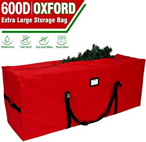 """OurWarm Christmas Tree Storage Bag Extra Large Heavy Duty Storage Containers with Reinforced Handles Zipper for 8ft Artificial Tree, 50"""" x 15"""" x 20"""" 600D Oxford Xmas Holiday Tree Storage Bag, Red"""