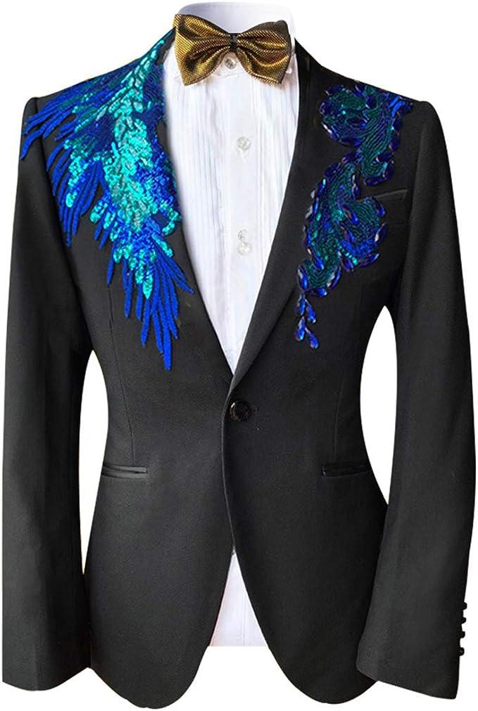 Veste Paillette Homme Blazer Homme Paillette Diner Soir/ée Costume Deux Pi/èces Costume Un Bouton Slim Fit Mariage