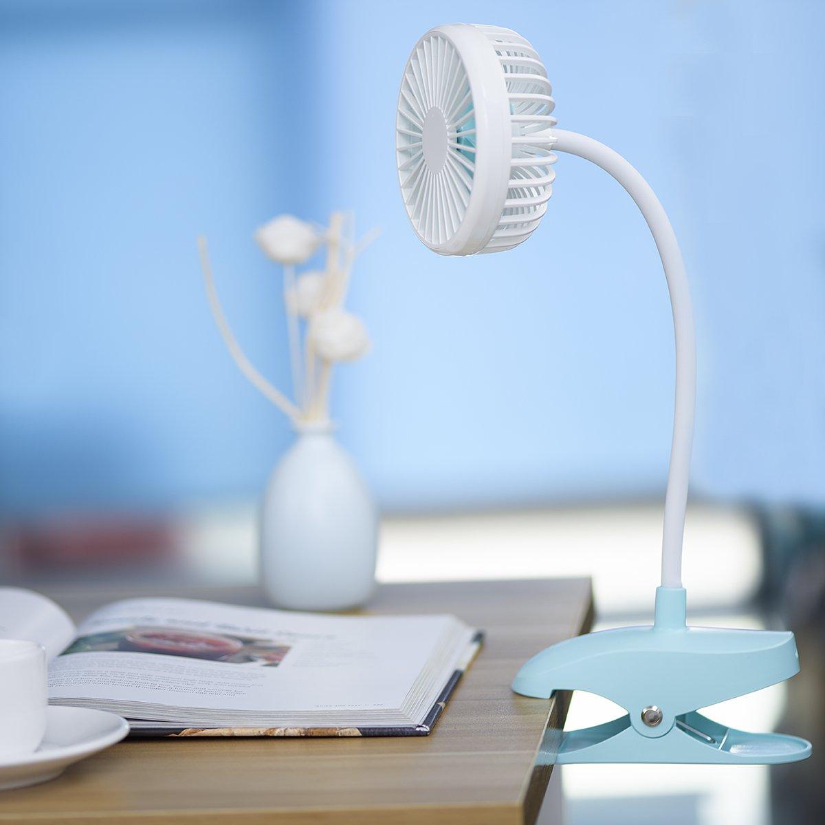 cochecito de bebe Clip USB ventilador con 1200mAh bateria recargable operado y fuerte pinza Oficina blanco silencioso de refrigeracion portatil Mini ventiladores de mesa personales para el hogar