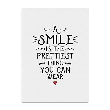 sprüche mit smile Kunstdruck, Poster mit Spruch – A Smile – Typografie Bild auf  sprüche mit smile