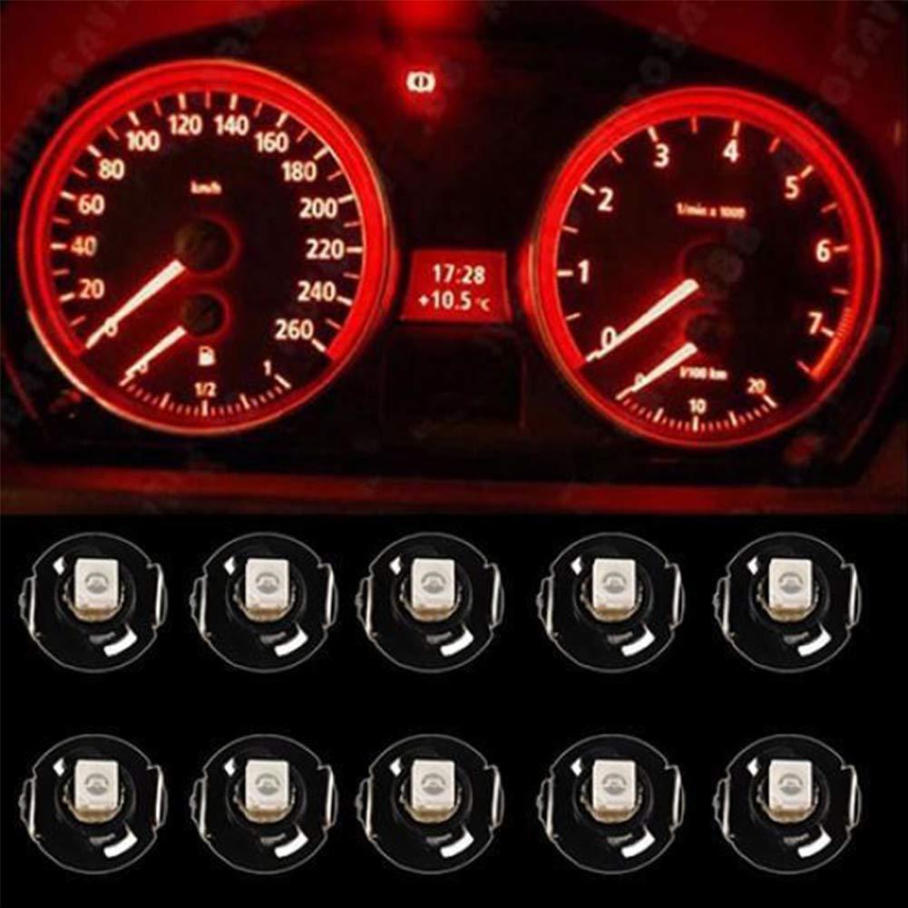 elegantstunning 10PCS t4.2/12/V LED Pannello cruscotto Strumento indicatore Lampadina Lampada Auto Strumento per Auto Cab Marker Light Green Light