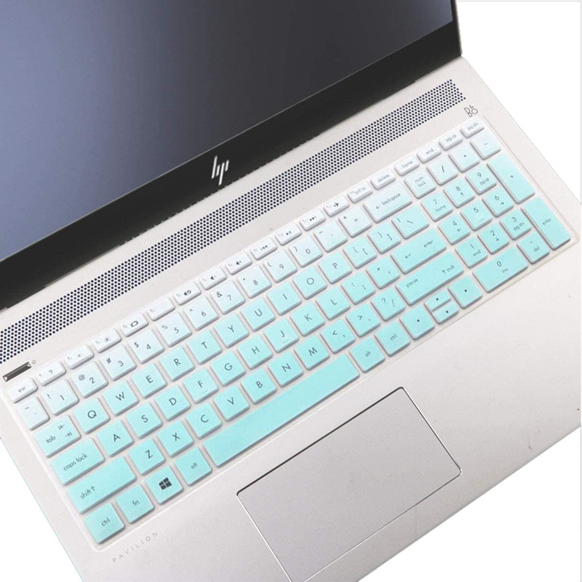 "Keyboard Cover Design for 2020 2019 15.6 HP Envy x360 2-in-1 Series, HP Pavilion 15.6 inch Series /2020 2019 17.3"" HP Envy 17 Laptop, HP Spectre X360 15 15.6"", Ultra Thin Protective Skin -Mint Green"