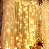 Curtain Icicle Lights, String Lights 9.8 X 9.8ft 320 LED Starry Fairy Lights for Wedding, Bedroom, Christmas, Party, Bed Canopy, Garden, Patio, Outdoor Indoor (Warm White)