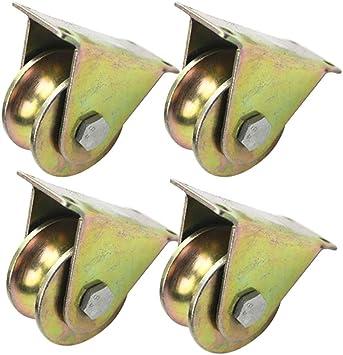Ruedas 3pulgadas Rodillo Puerta Corredera Rueda Forma U Soporte de Carga 500kg Polea Acero Puerta Corrediza Redonda Rueda Direccional 4piezas: Amazon.es: Bricolaje y herramientas