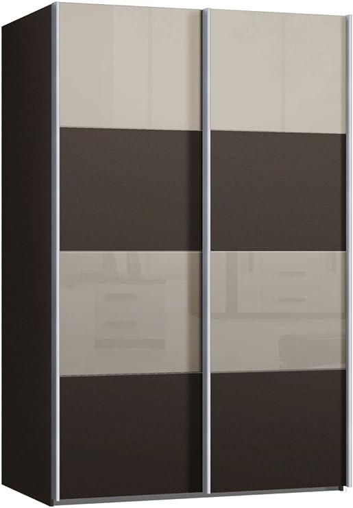Armario de puertas correderas, puerta corredera, aproximadamente 150 cm de ancho, marrón vidrio Sahara gris, armario: Amazon.es: Hogar