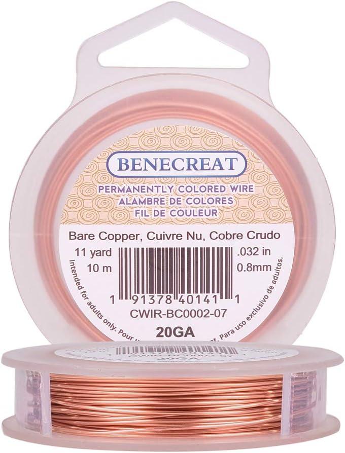 BENECREAT 10m 0.8mm Alambre de Cobre Cable Metálico Accesorios de Manualidad para Diseño de Bisutería - Color de Cobre Calibre 20