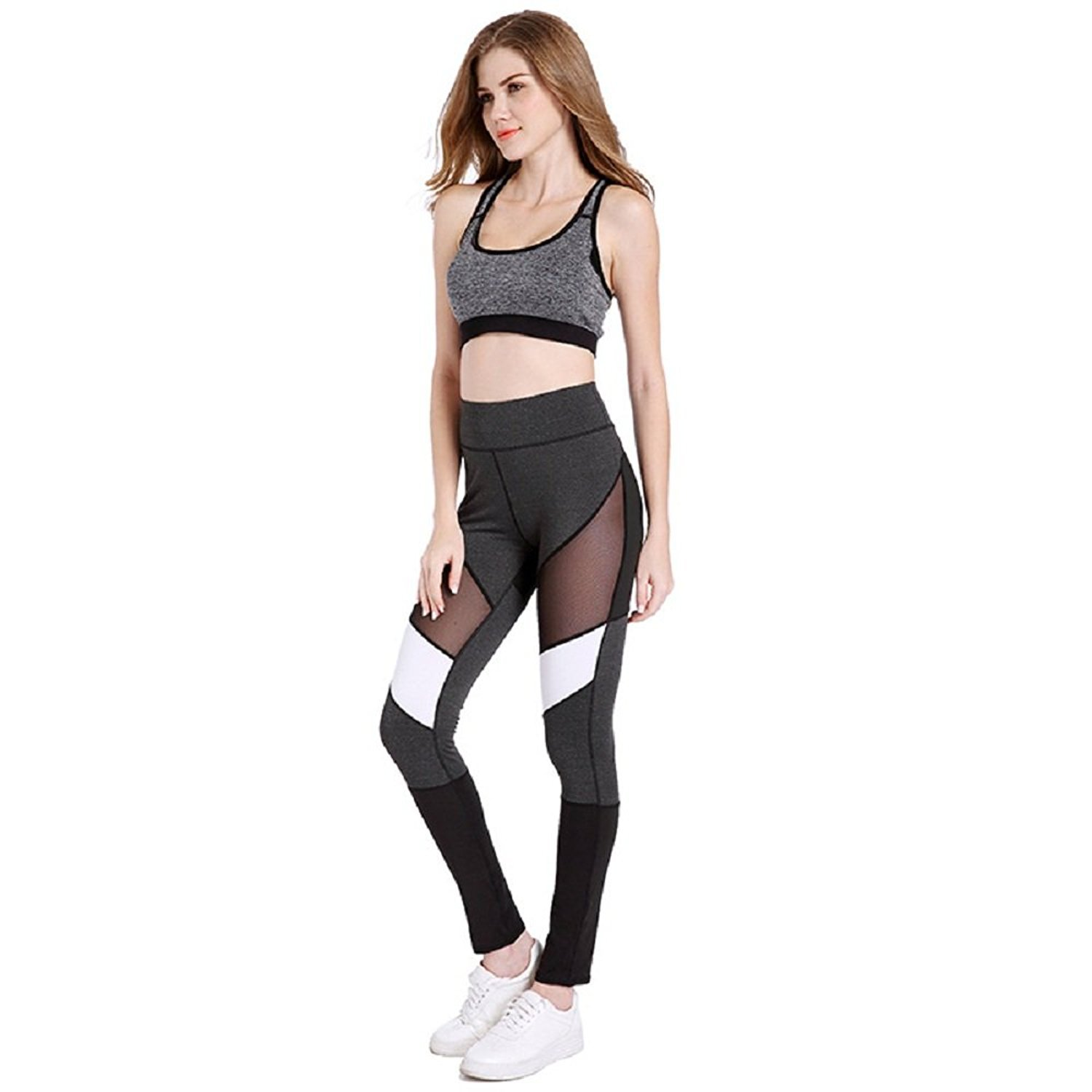 4315dd9ef3 zm Z.M Women's Stretchy Skinny Color Block Workout Leggings Yoga Tights  Pants Mesh Push Up Trousers