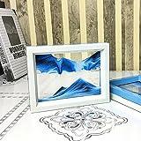 CooCu , Framed Sand Art - Moving Sand Picture - Desktop Art , Voted Best Gift! (Black,White,Blue)