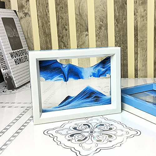 CooCu , Framed Sand Art - Moving Sand Picture - Desktop Art , Voted Best Gift! (Black,White,Blue)
