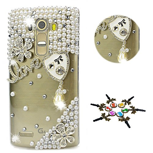 STENES LG Stylo 4 Case - Stylish - 100+ Bling Crystal - 3D Handmade Shield Pearl Pendant Flowers Love Design Protective Cover Case for LG Stylo 4 / LG Q710MS - Crystal ()