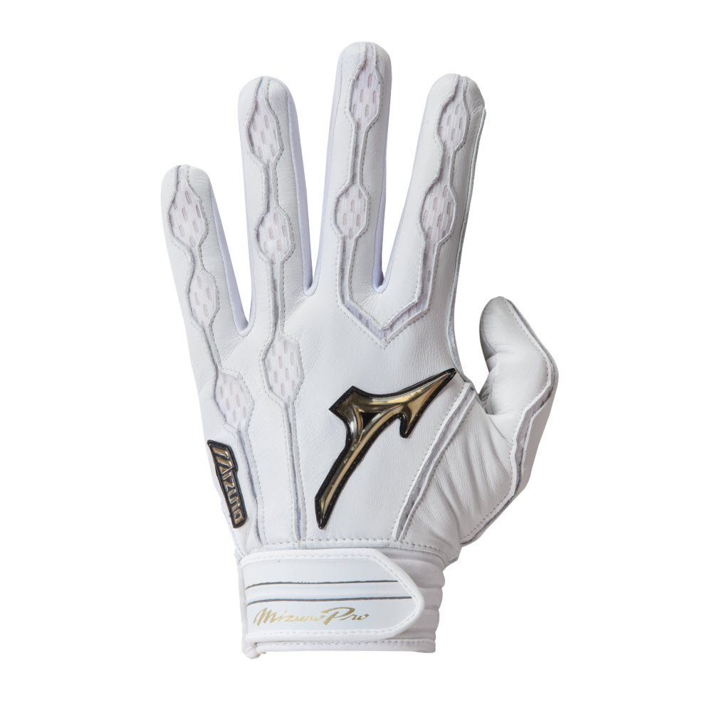 MizunoメンズPro Batting Gloves B01HQHXYCA Large|ホワイト ホワイト Large