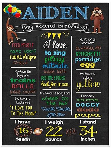 Curious George Custom Chalkboard Milestone Stats Birthday Sign Photo Prop (Curious George 1st Birthday)
