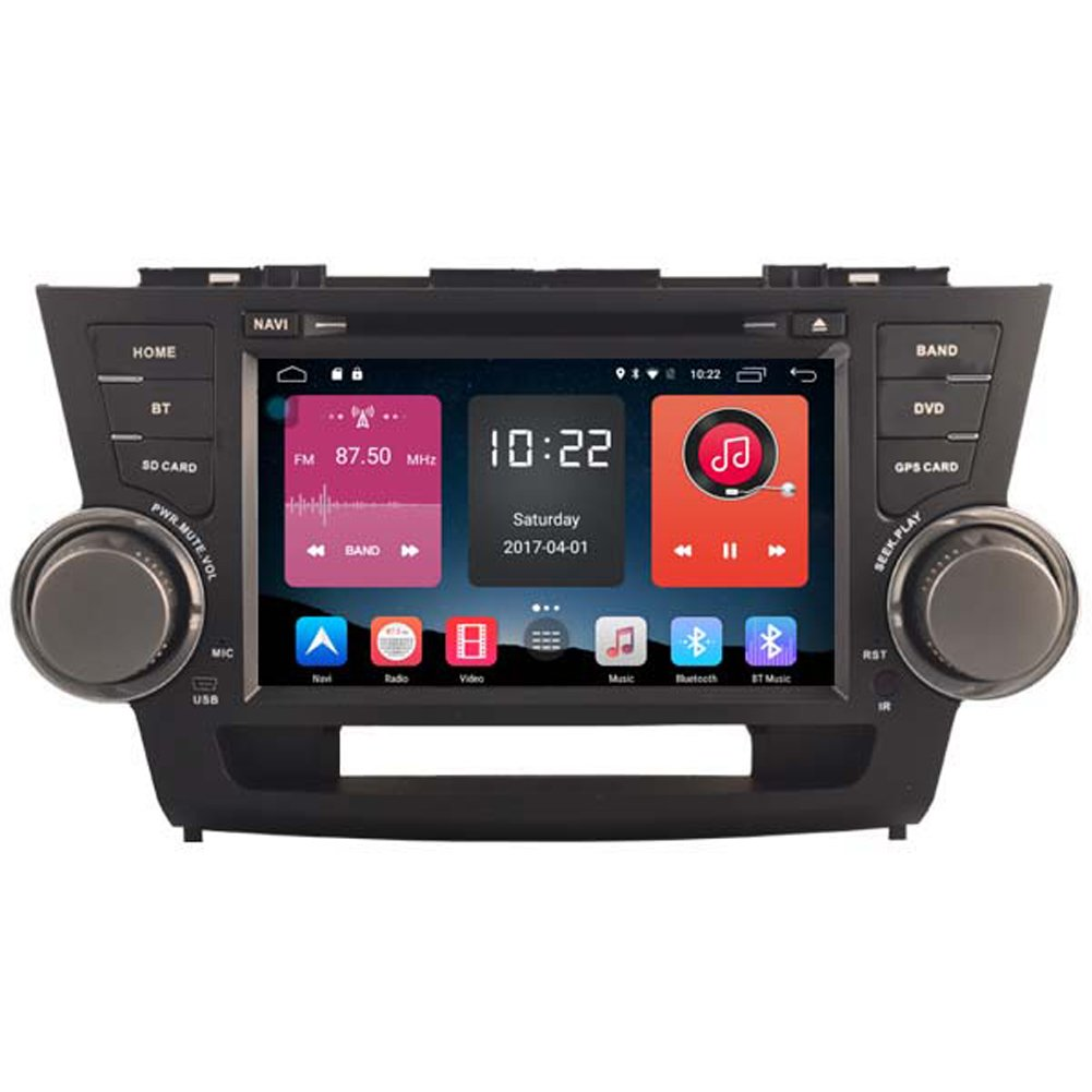 Autosion In Dash Android 6.0 Car DVD Player Sat Nav Radio Head Unit GPS Navigation Stereo for Toyota Highlander 2008 2009 2010 2011 2012 Support Bluetooth SD USB Radio OBD WIFI DVR 1080P