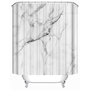 """Uphome Wild Symbol Marble Pattern Bathroom Shower Curtain - White and Grey Polyester Fabric Bath Decorative Curtain Ideas (72""""W x 72""""H)"""