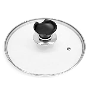 TOPULORS 9 inch Tempered Glass Lid Accessory for Instant Pot 5 and 6 Quart Pressure Cooker, Universal Pan Pot Clear Cookware Lid/Cover with Spoon Rest/Holder Knob Handle Design, Steam Vent and T