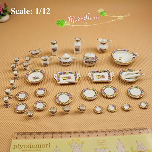 1/12 Scale Lot 42 Dollhouse Miniatures Chinese Porcelain Set; Doll House Soup Tureens Bowls vases Set ()