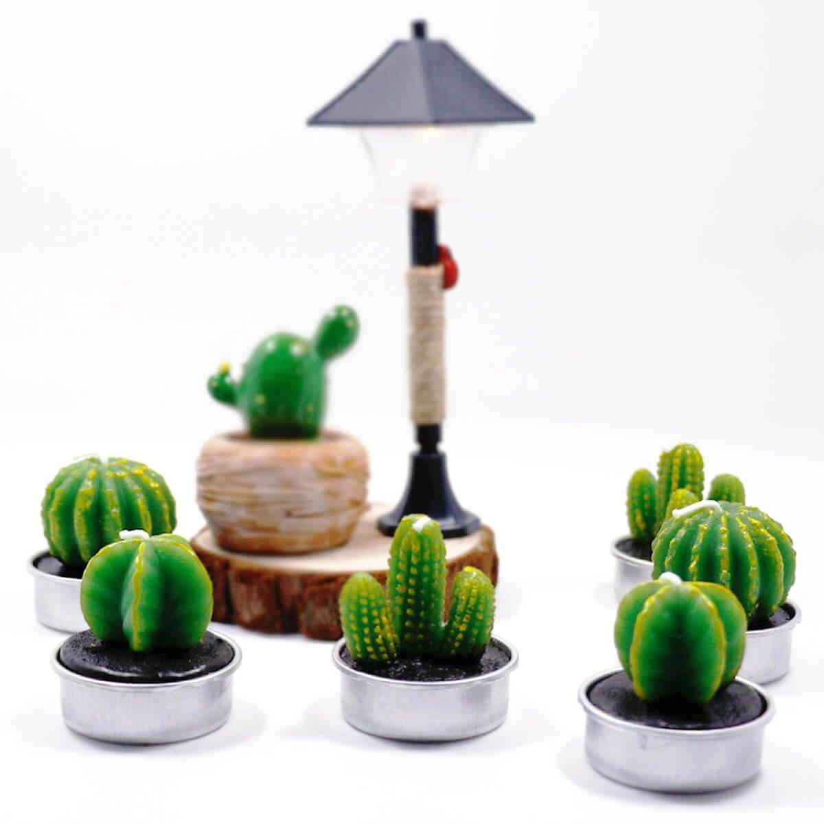 Cactus Decor Candles Non-Spilling Tea Light for Home Birthday Party Wedding Decor 6 Pcs