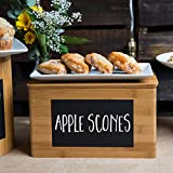 Tablecraft RCBS1387 Write-On 13'' x 8'' x 7'' Bamboo Rectangular Storage Container with Chalkboard Pack of 6