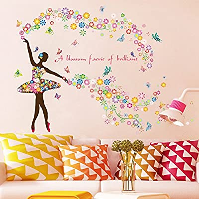 Kid Wall Sticker Décor,Beautiful Butterfly Flower Fairy Dancing Girl Wall Sticker Nursery Kids Wallpaper Home Decor Art by JiazuGo