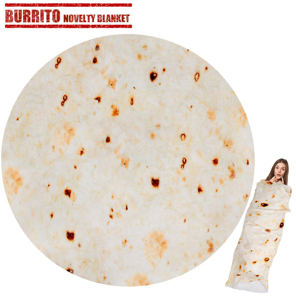 LetsFunny Burrito Tortilla Wrap Blanket, Burrito Wrap Novelty Blanket Tortilla Towel for Adults/Kids, Giant Round Beach Towel/Throw Blanket/Picnic Blanket (Yellow, 60) by LetsFunny