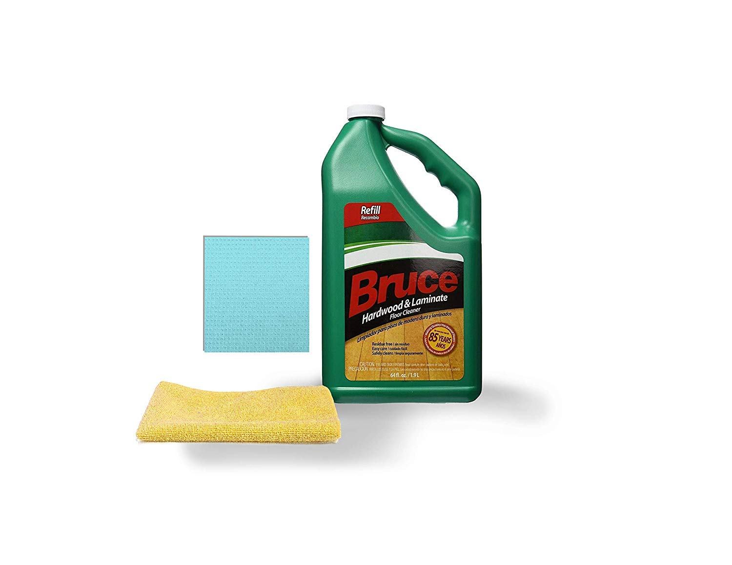 Bruce Armstrong 64 fl. oz. Best Hardwood Laminate Floor Surface Wood Floors Liquid Cleaner Refill Bottle Microfiber & Sponge Cleaning Cloth Floorcare.