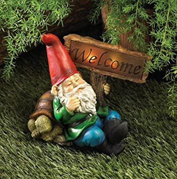 Welcome Gnome Outdoor Garden Solar Light Statue Patio Garden Decor Yard Art